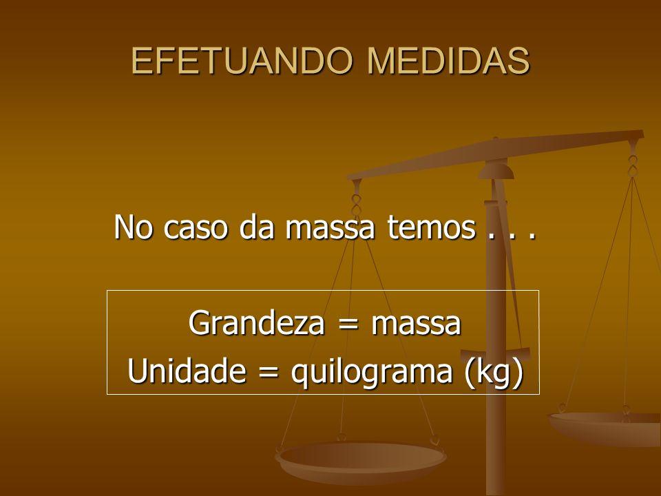 Unidade = quilograma (kg)