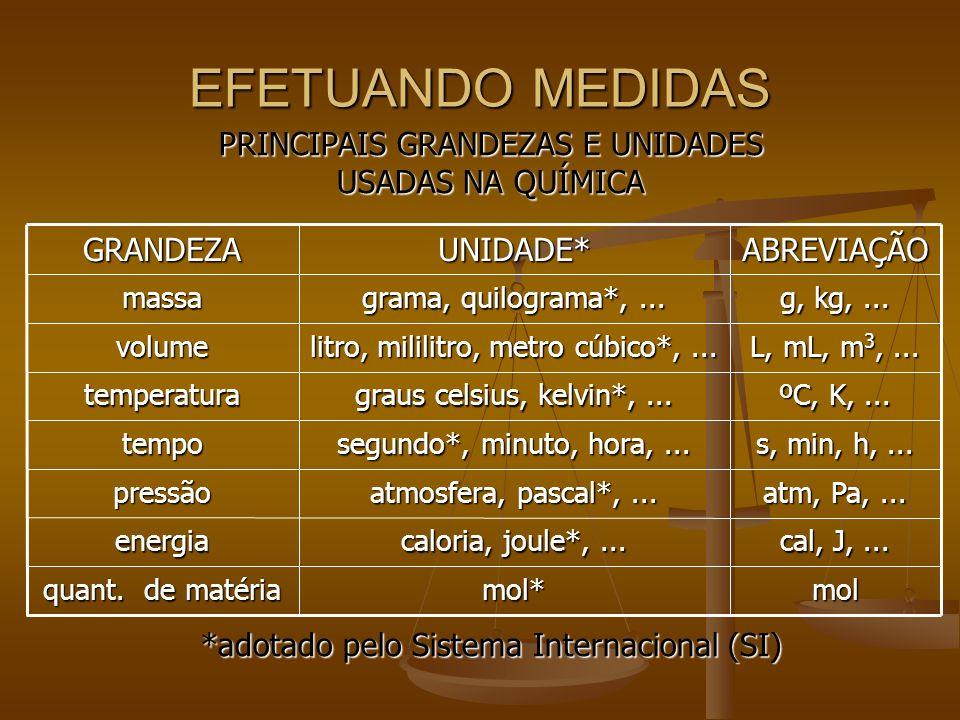EFETUANDO MEDIDAS PRINCIPAIS GRANDEZAS E UNIDADES USADAS NA QUÍMICA