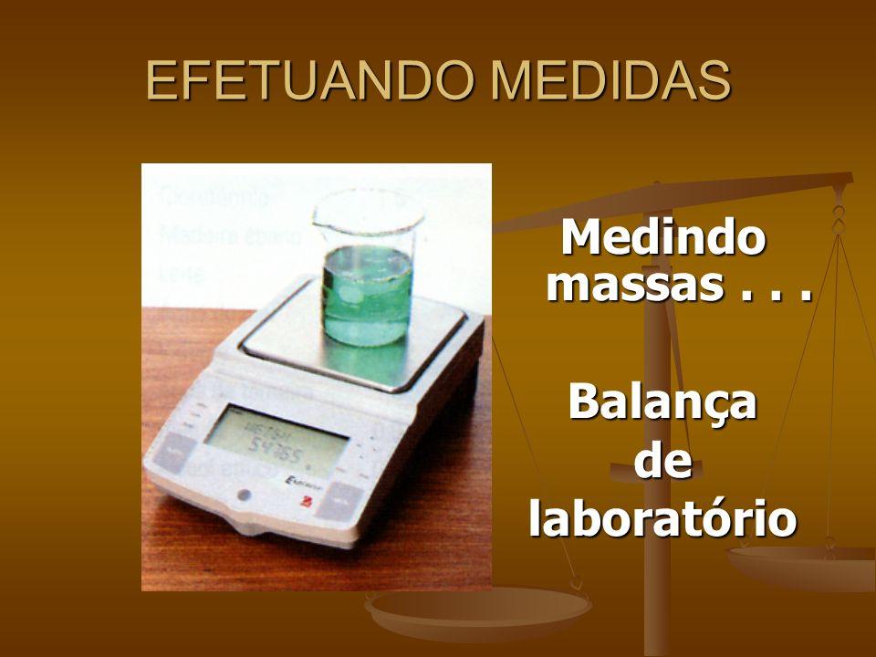EFETUANDO MEDIDAS Medindo massas . . . Balança de laboratório