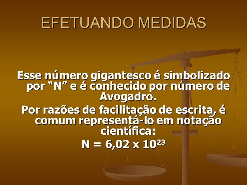 EFETUANDO MEDIDAS Esse número gigantesco é simbolizado por N e é conhecido por número de Avogadro.