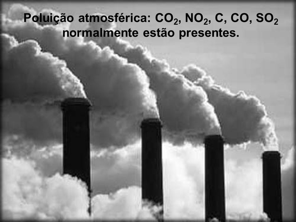 Poluição atmosférica: CO2, NO2, C, CO, SO2