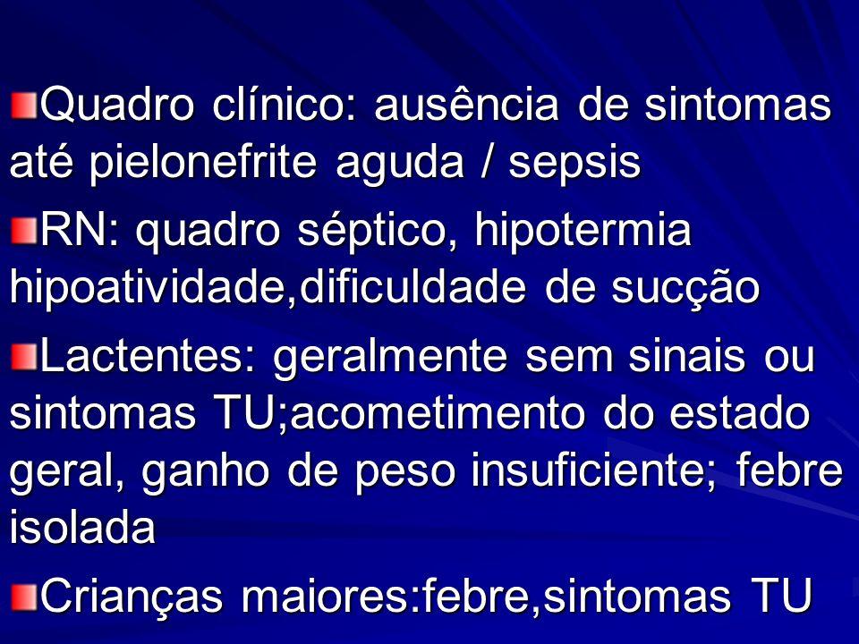 Quadro clínico: ausência de sintomas até pielonefrite aguda / sepsis