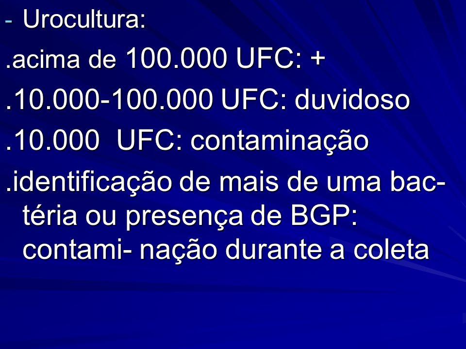.10.000-100.000 UFC: duvidoso .10.000 UFC: contaminação