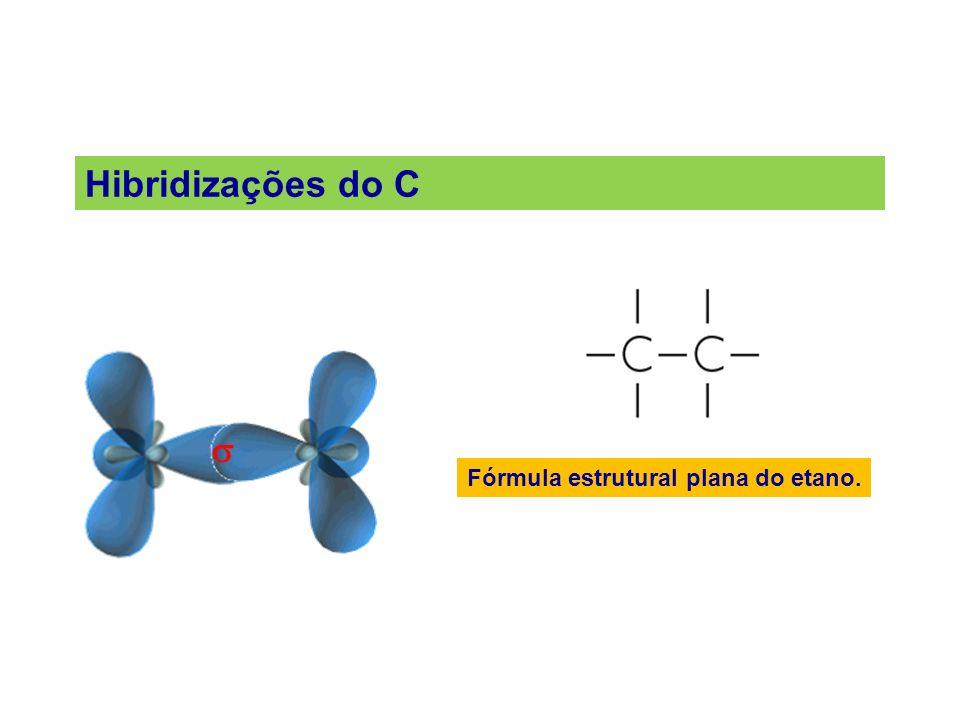 Hibridizações do C  Fórmula estrutural plana do etano.