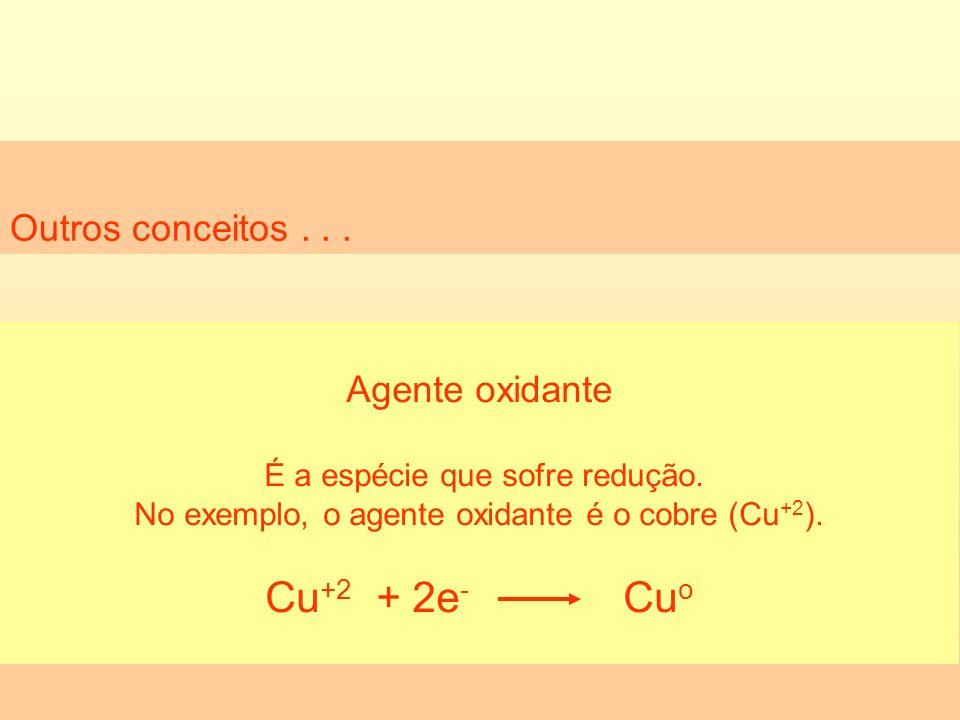 Cu+2 + 2e- Cuo Outros conceitos . . . Agente oxidante