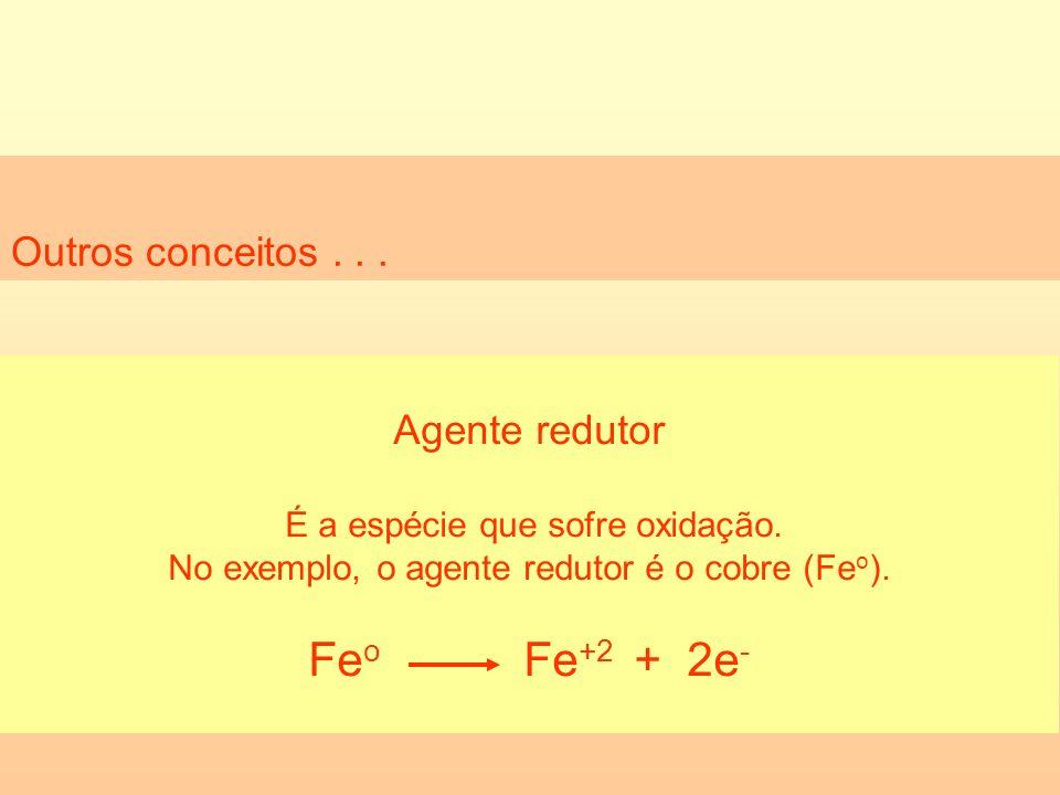 Feo Fe+2 + 2e- Outros conceitos . . . Agente redutor