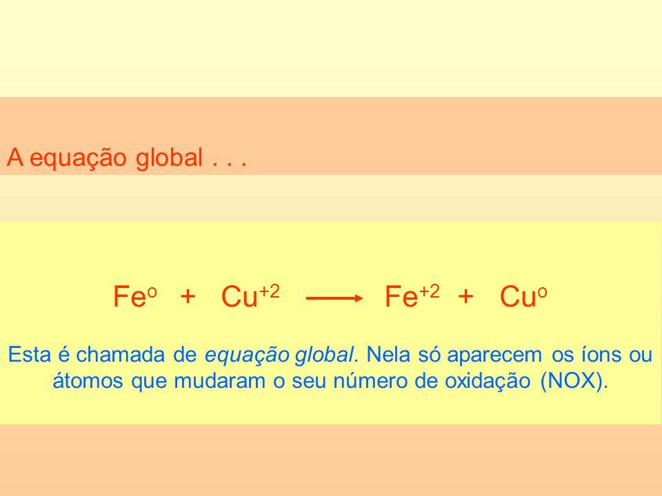 Feo + Cu+2 Fe+2 + Cuo A equação global . . .