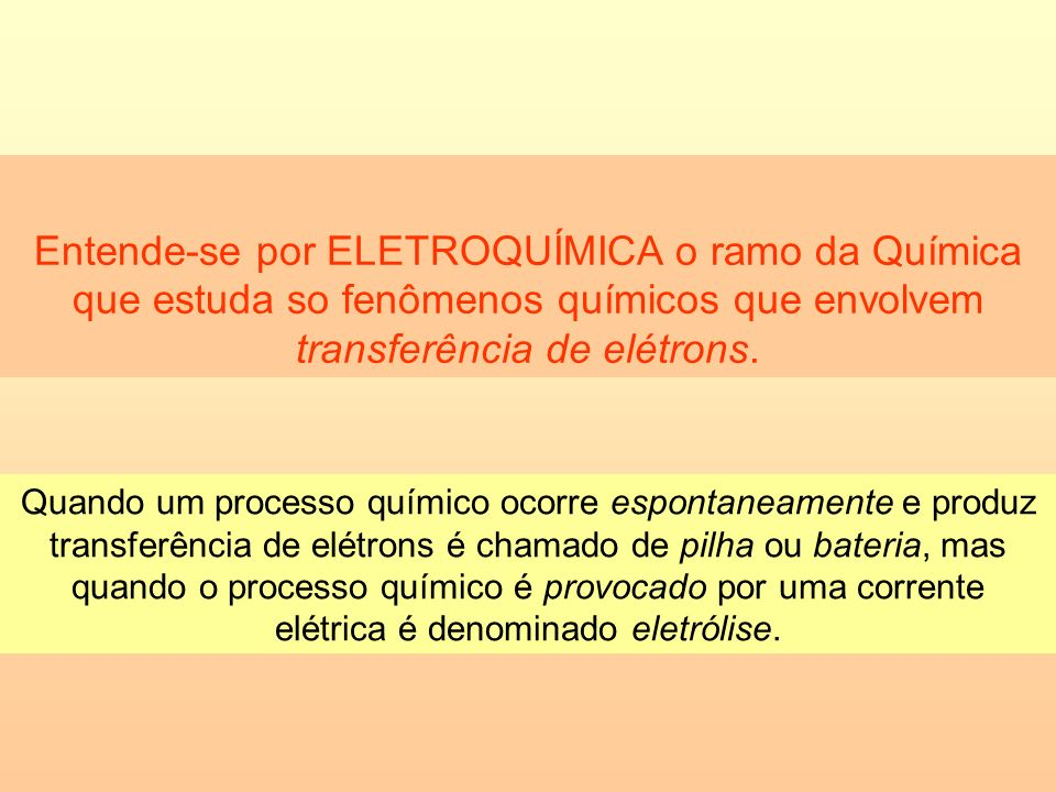 Entende-se por ELETROQUÍMICA o ramo da Química que estuda so fenômenos químicos que envolvem transferência de elétrons.