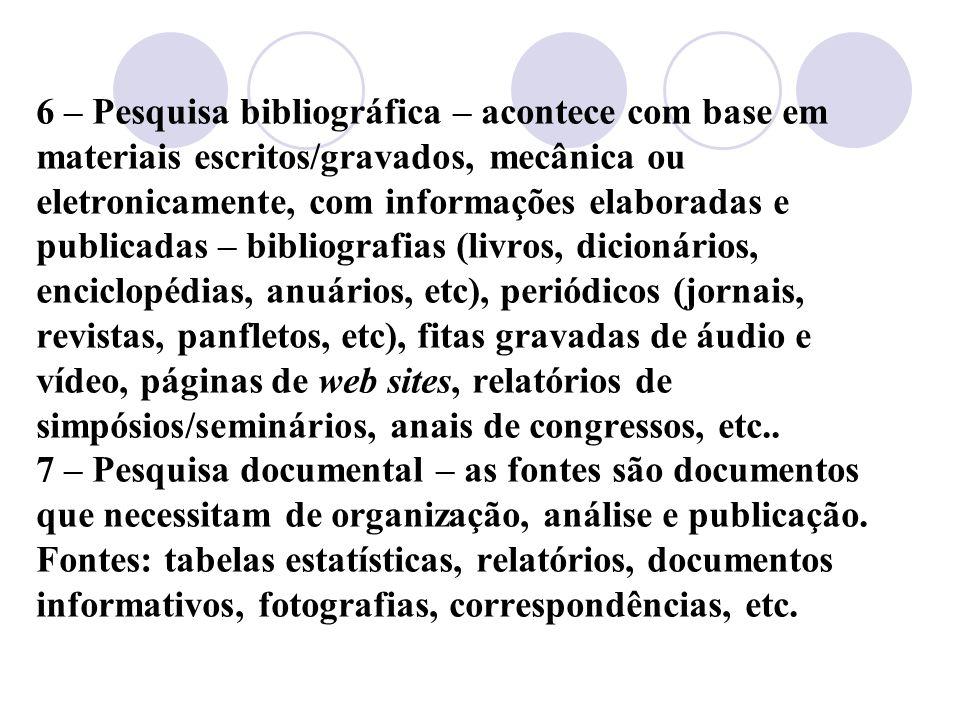6 – Pesquisa bibliográfica – acontece com base em materiais escritos/gravados, mecânica ou eletronicamente, com informações elaboradas e publicadas – bibliografias (livros, dicionários, enciclopédias, anuários, etc), periódicos (jornais, revistas, panfletos, etc), fitas gravadas de áudio e vídeo, páginas de web sites, relatórios de simpósios/seminários, anais de congressos, etc..