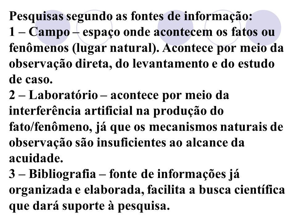 Pesquisas segundo as fontes de informação: 1 – Campo – espaço onde acontecem os fatos ou fenômenos (lugar natural).