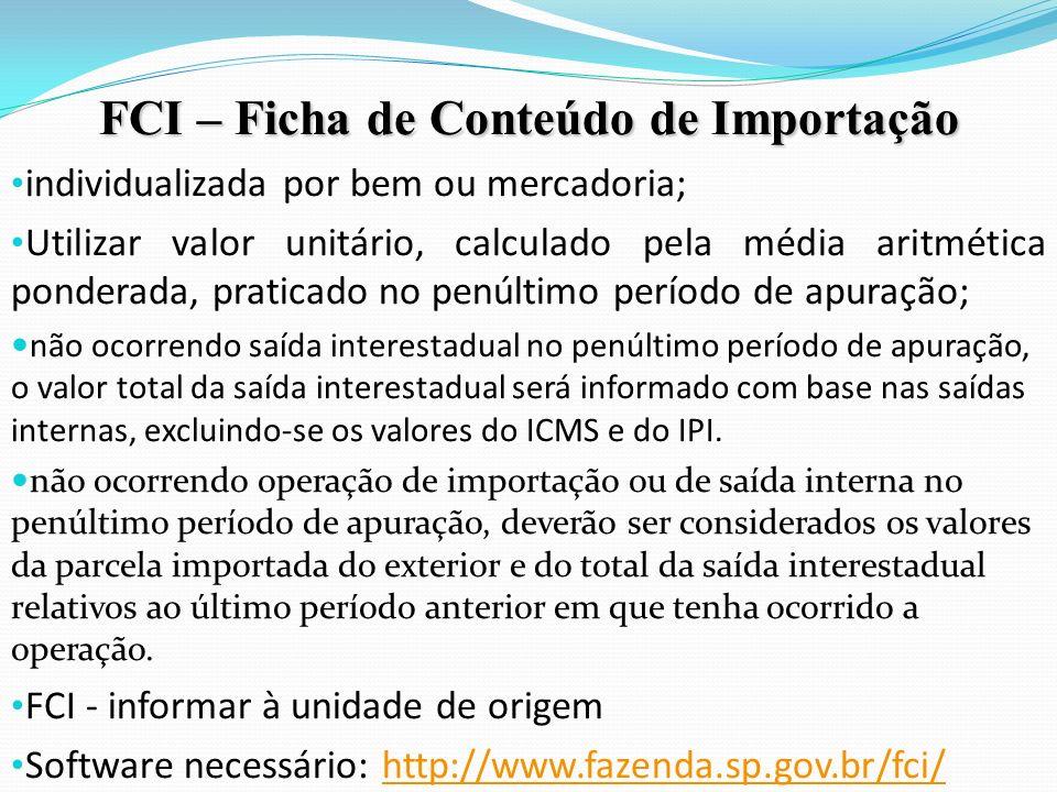 FCI – Ficha de Conteúdo de Importação
