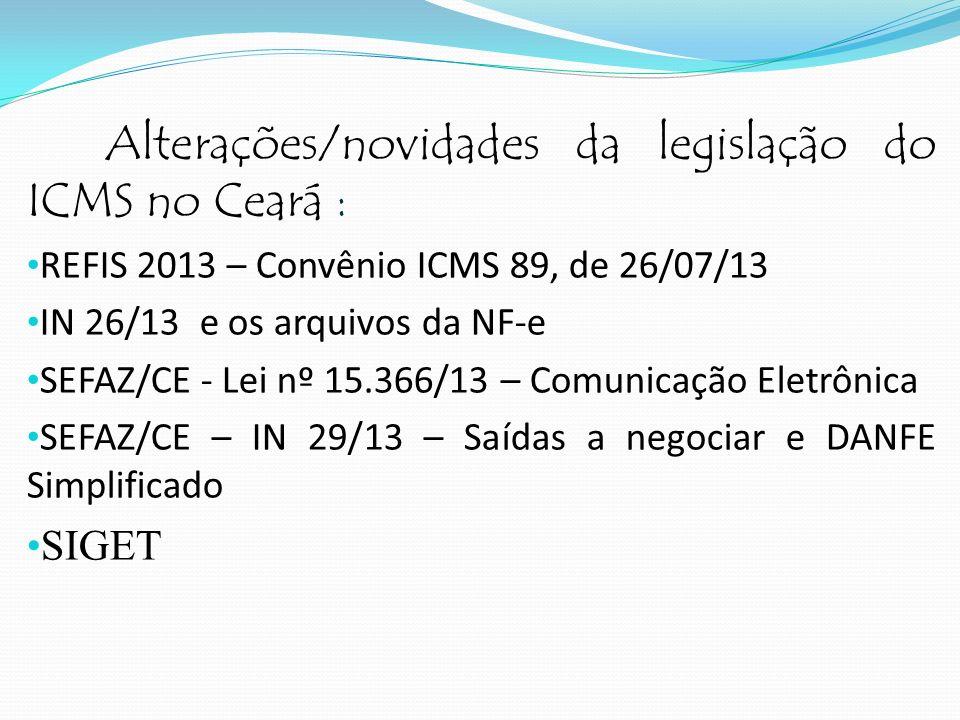 Alterações/novidades da legislação do ICMS no Ceará :