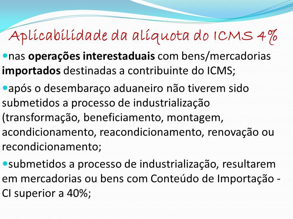 Aplicabilidade da alíquota do ICMS 4%