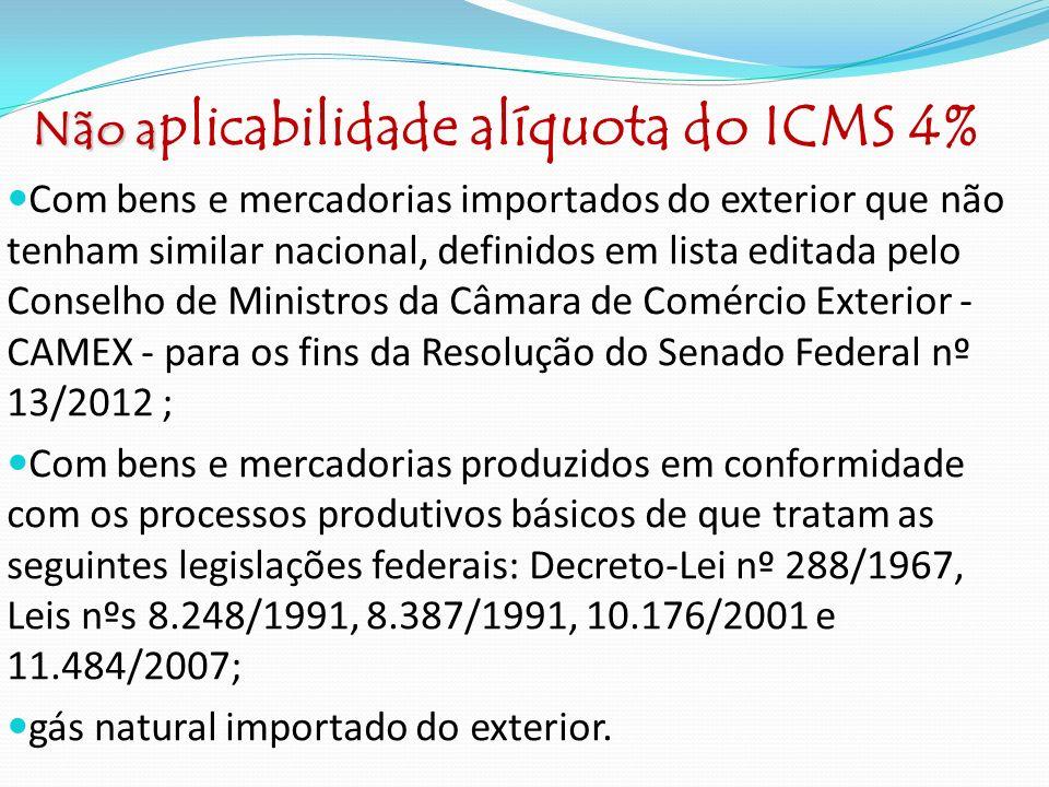 Não aplicabilidade alíquota do ICMS 4%