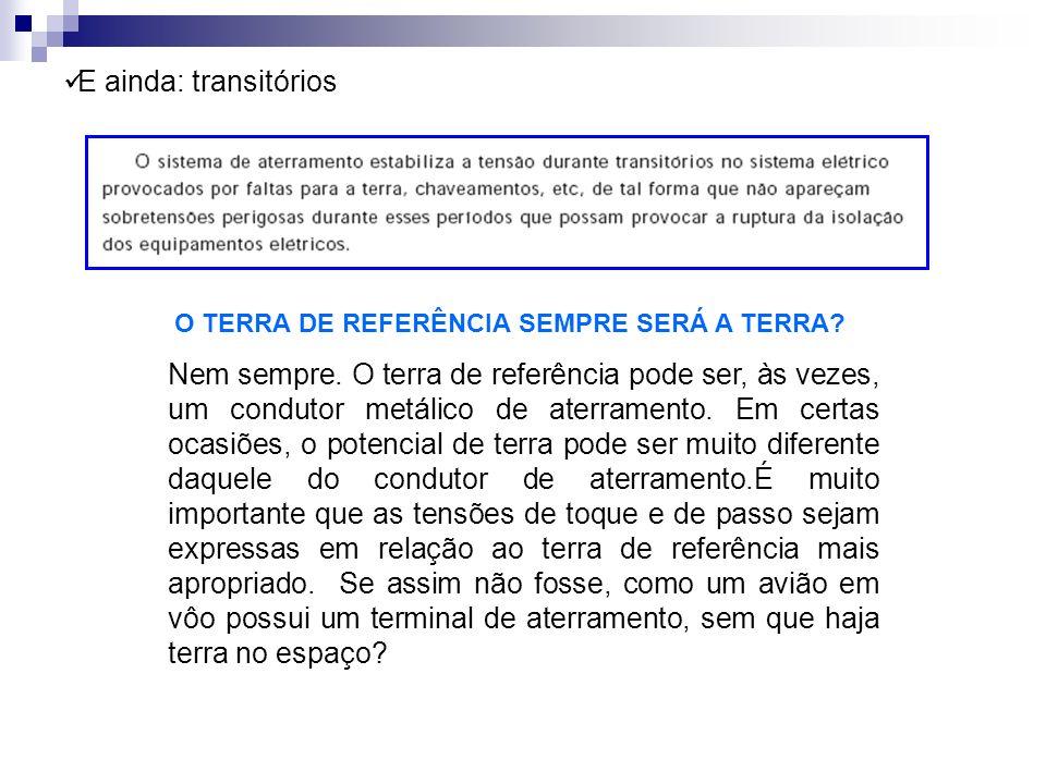 E ainda: transitórios O TERRA DE REFERÊNCIA SEMPRE SERÁ A TERRA