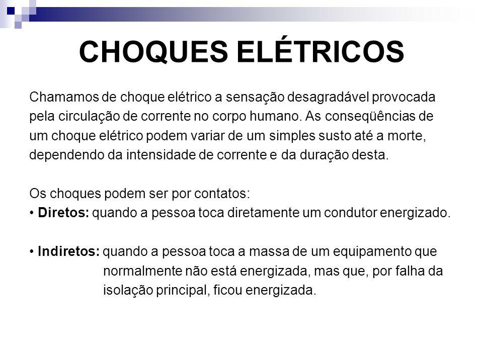 CHOQUES ELÉTRICOS Chamamos de choque elétrico a sensação desagradável provocada. pela circulação de corrente no corpo humano. As conseqüências de.