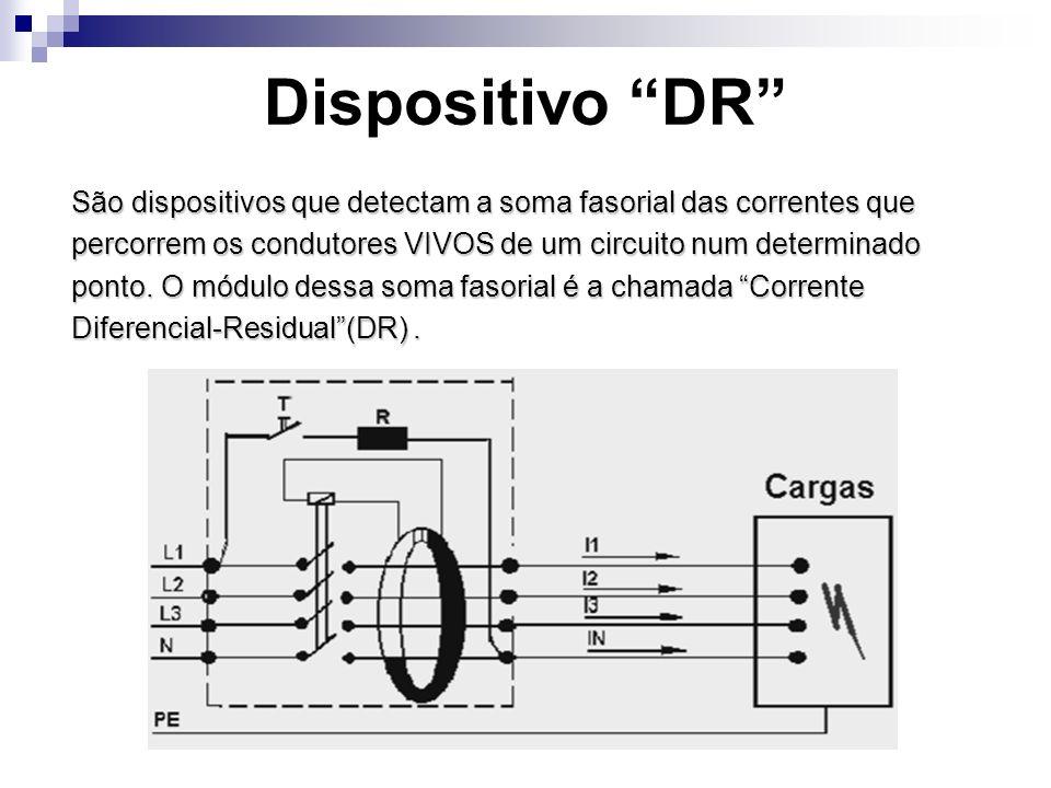 Dispositivo DR São dispositivos que detectam a soma fasorial das correntes que. percorrem os condutores VIVOS de um circuito num determinado.