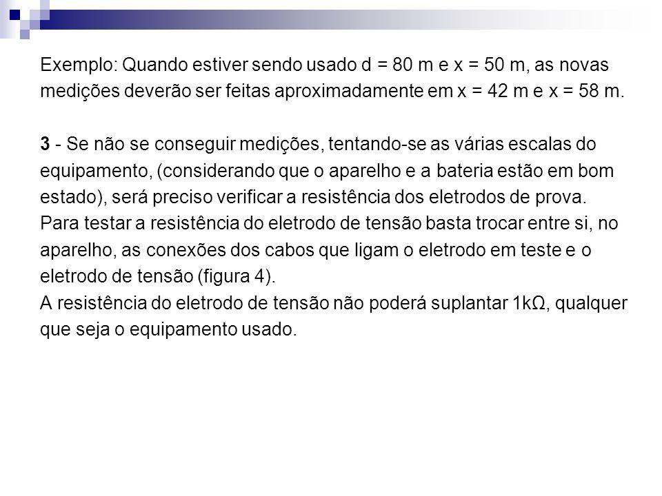 Exemplo: Quando estiver sendo usado d = 80 m e x = 50 m, as novas