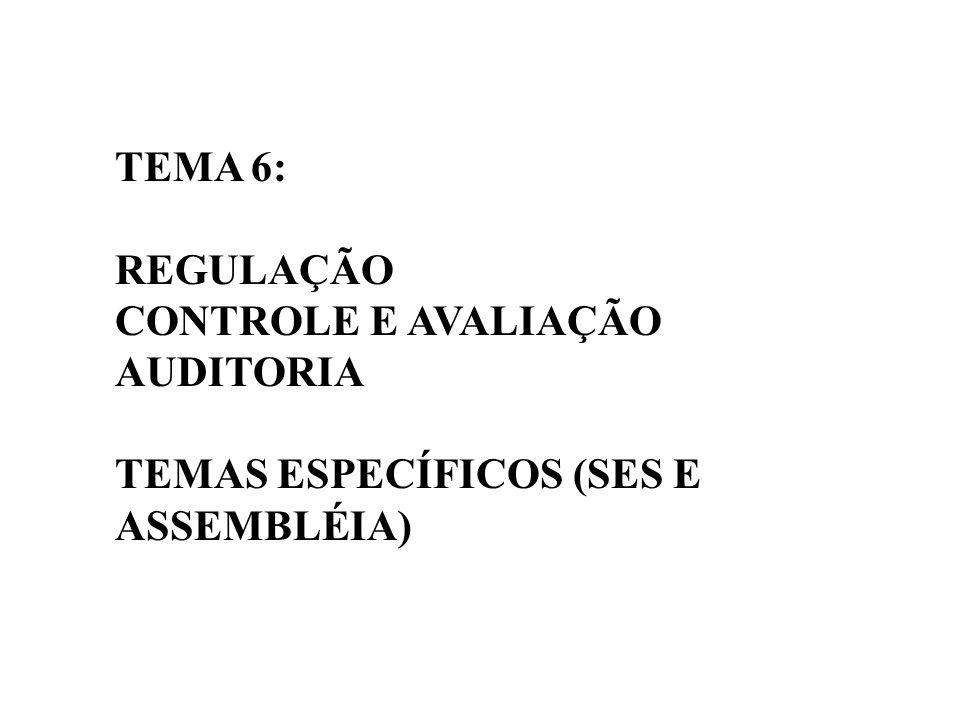TEMA 6: REGULAÇÃO CONTROLE E AVALIAÇÃO AUDITORIA TEMAS ESPECÍFICOS (SES E ASSEMBLÉIA)
