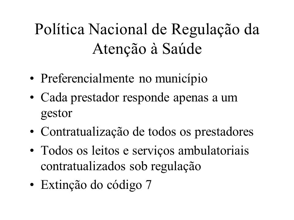 Política Nacional de Regulação da Atenção à Saúde