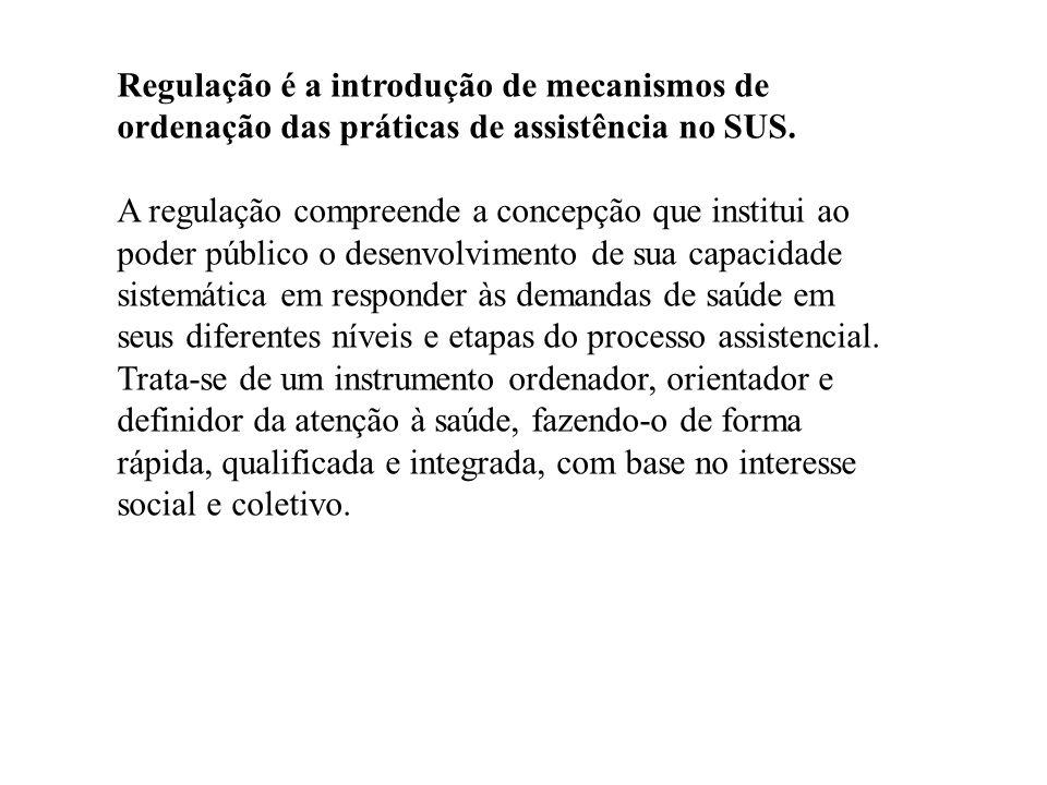 Regulação é a introdução de mecanismos de ordenação das práticas de assistência no SUS.