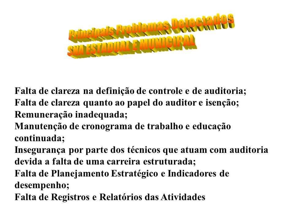 Falta de clareza na definição de controle e de auditoria;