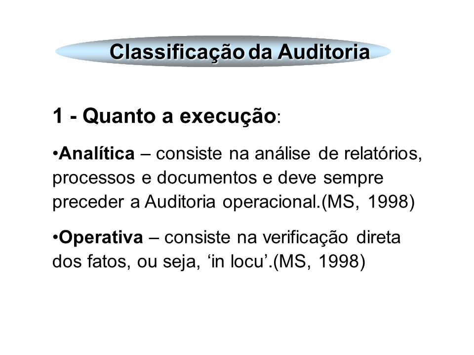 Classificação da Auditoria Classificação da Auditoria
