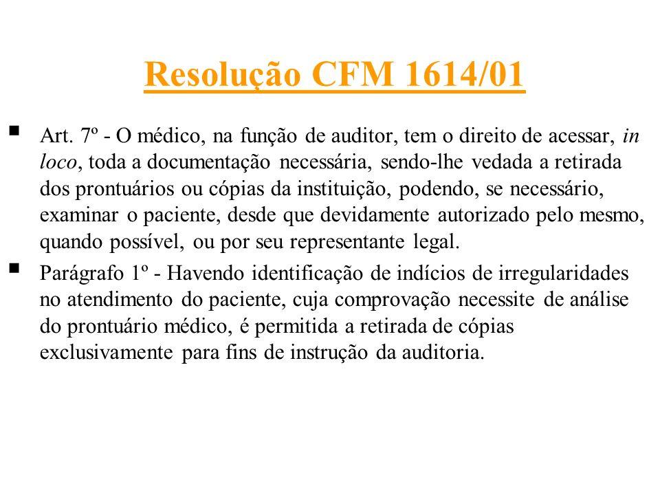 Resolução CFM 1614/01