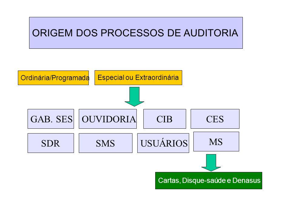 ORIGEM DOS PROCESSOS DE AUDITORIA