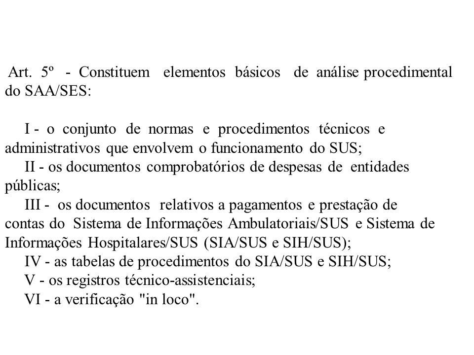 Art. 5º - Constituem elementos básicos de análise procedimental do SAA/SES: