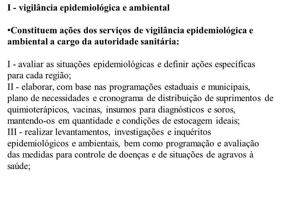 I - vigilância epidemiológica e ambiental