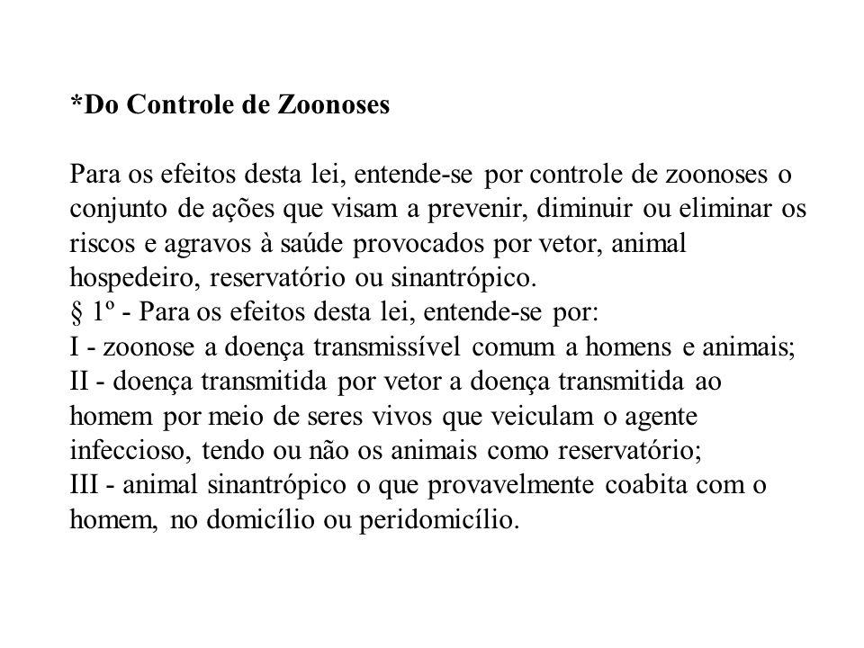 *Do Controle de Zoonoses