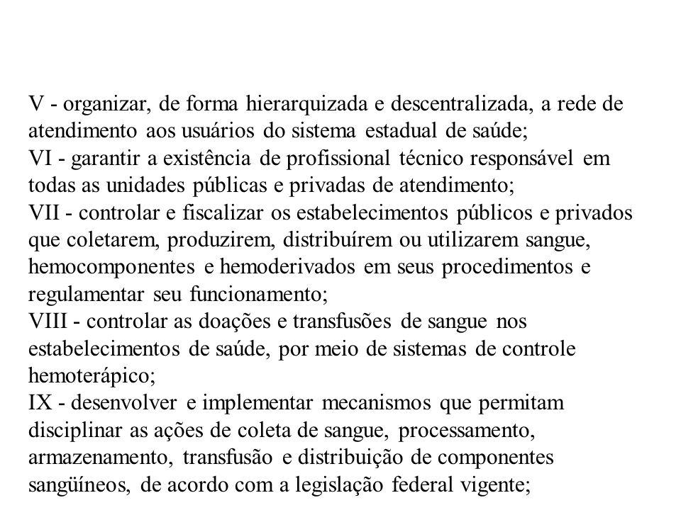V - organizar, de forma hierarquizada e descentralizada, a rede de atendimento aos usuários do sistema estadual de saúde;