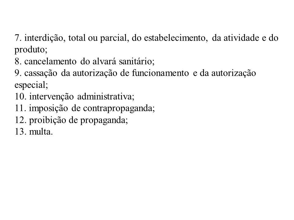 7. interdição, total ou parcial, do estabelecimento, da atividade e do produto;