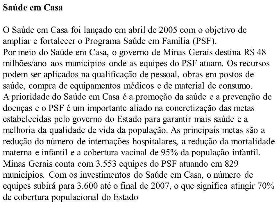 Saúde em Casa O Saúde em Casa foi lançado em abril de 2005 com o objetivo de ampliar e fortalecer o Programa Saúde em Família (PSF).