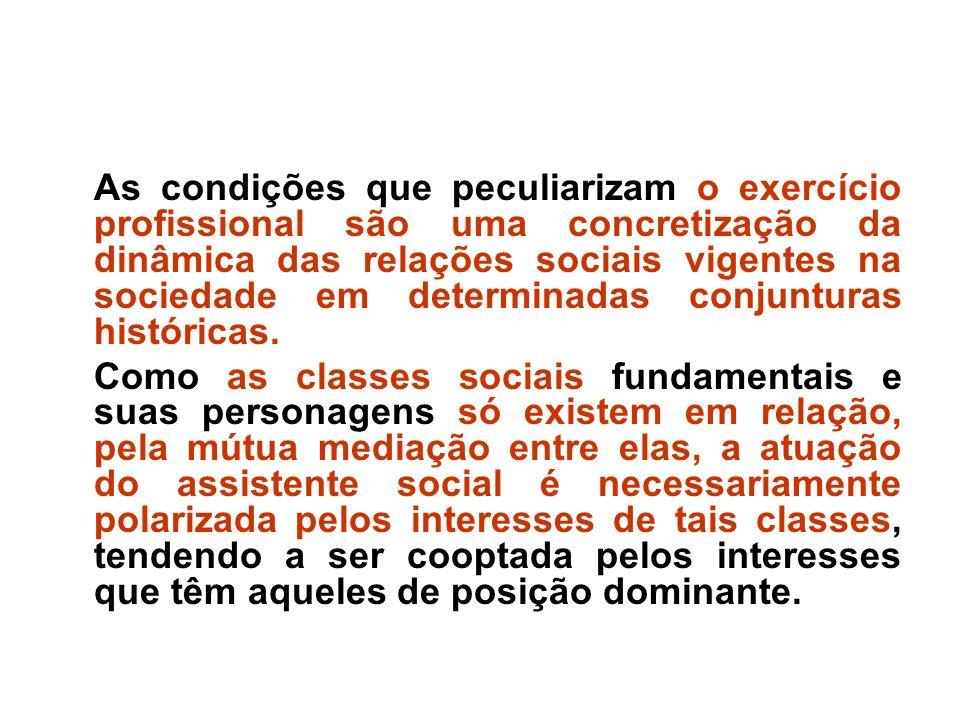As condições que peculiarizam o exercício profissional são uma concretização da dinâmica das relações sociais vigentes na sociedade em determinadas conjunturas históricas.