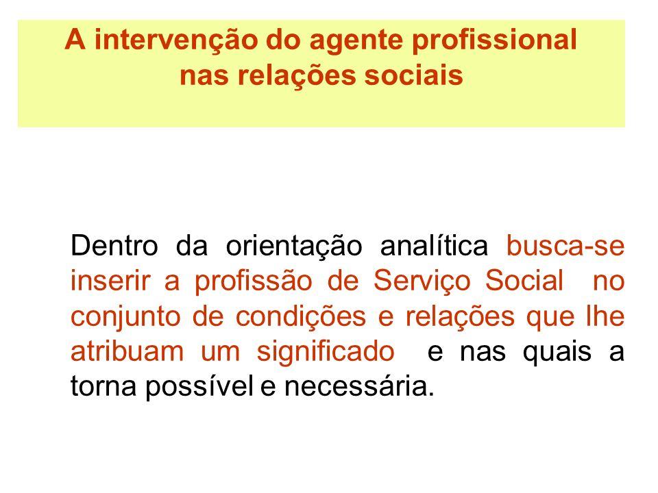 A intervenção do agente profissional nas relações sociais