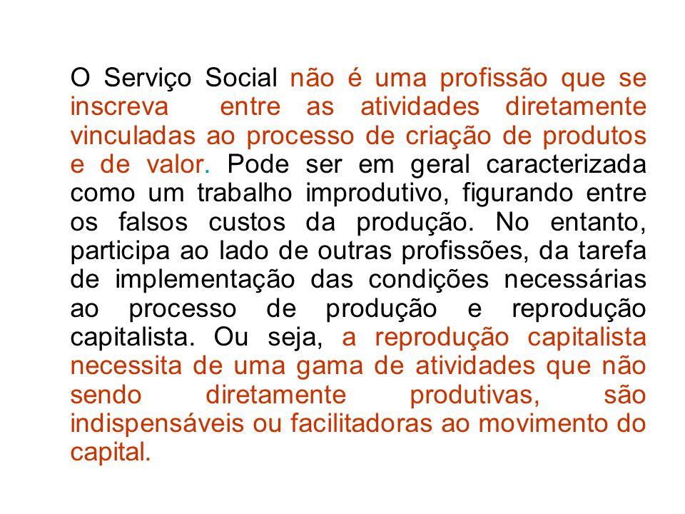 O Serviço Social não é uma profissão que se inscreva entre as atividades diretamente vinculadas ao processo de criação de produtos e de valor.