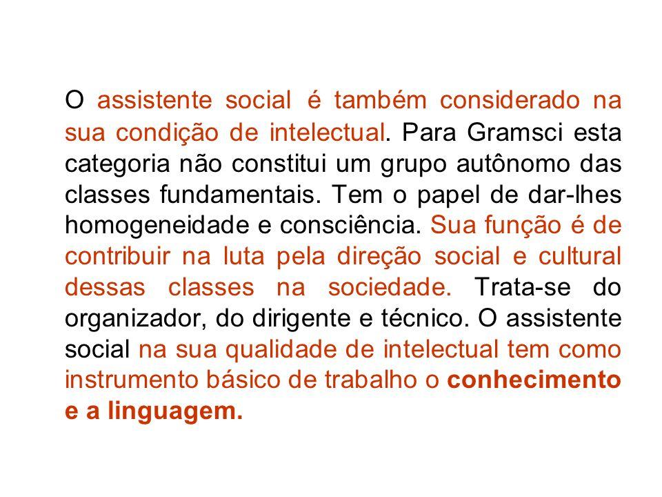 O assistente social é também considerado na sua condição de intelectual.