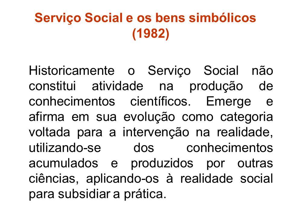 Serviço Social e os bens simbólicos (1982)