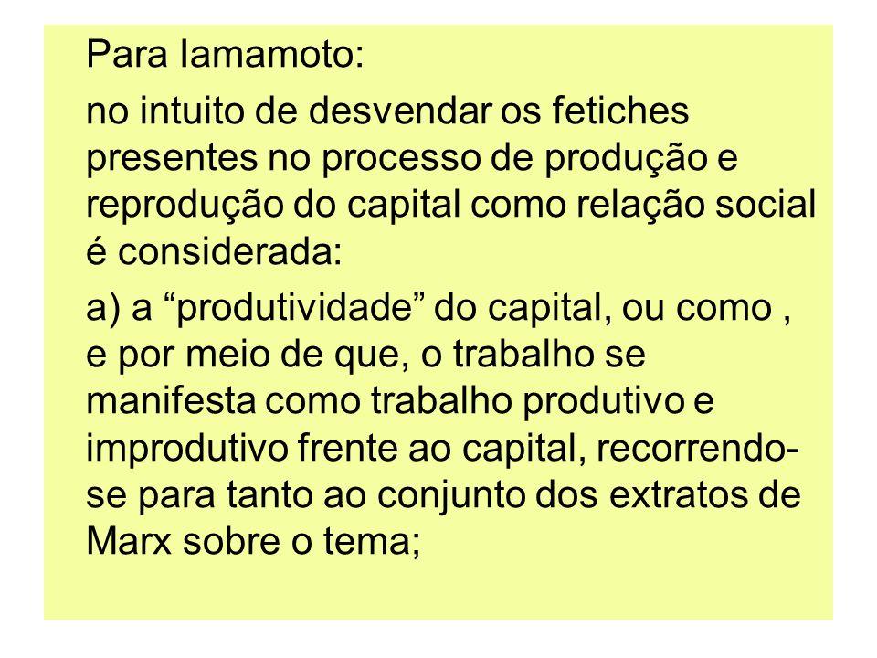 Para Iamamoto:no intuito de desvendar os fetiches presentes no processo de produção e reprodução do capital como relação social é considerada: