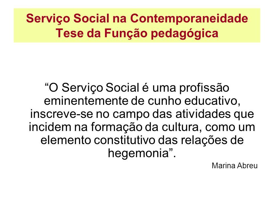 Serviço Social na Contemporaneidade Tese da Função pedagógica