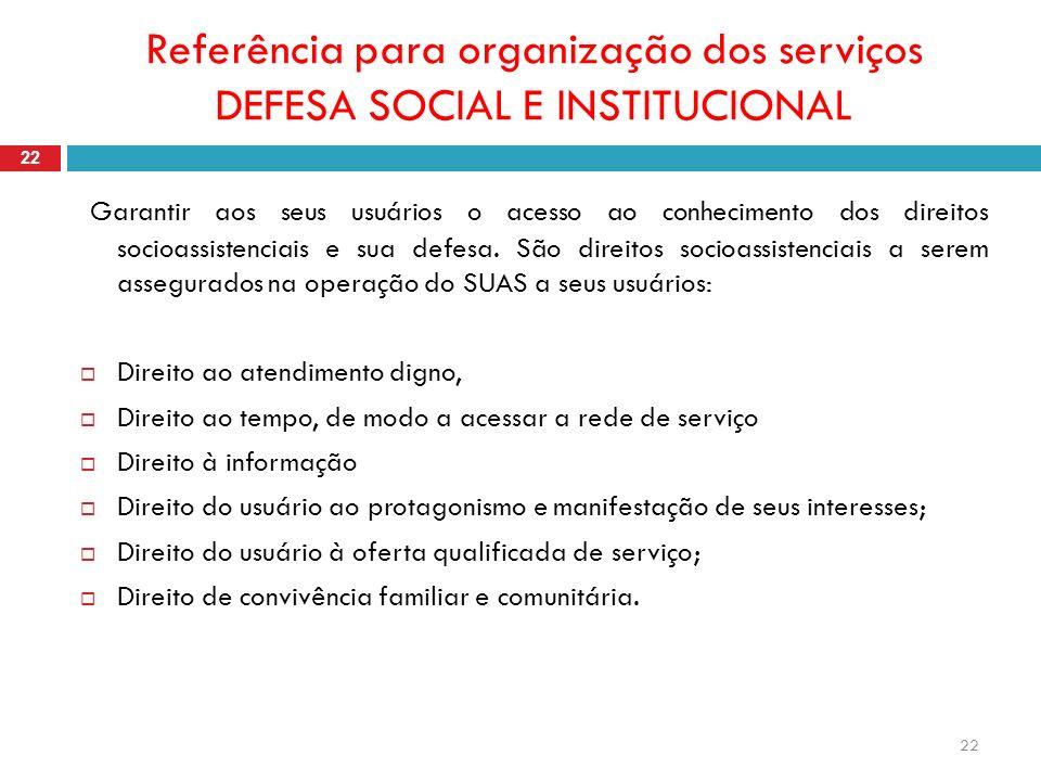 Referência para organização dos serviços DEFESA SOCIAL E INSTITUCIONAL