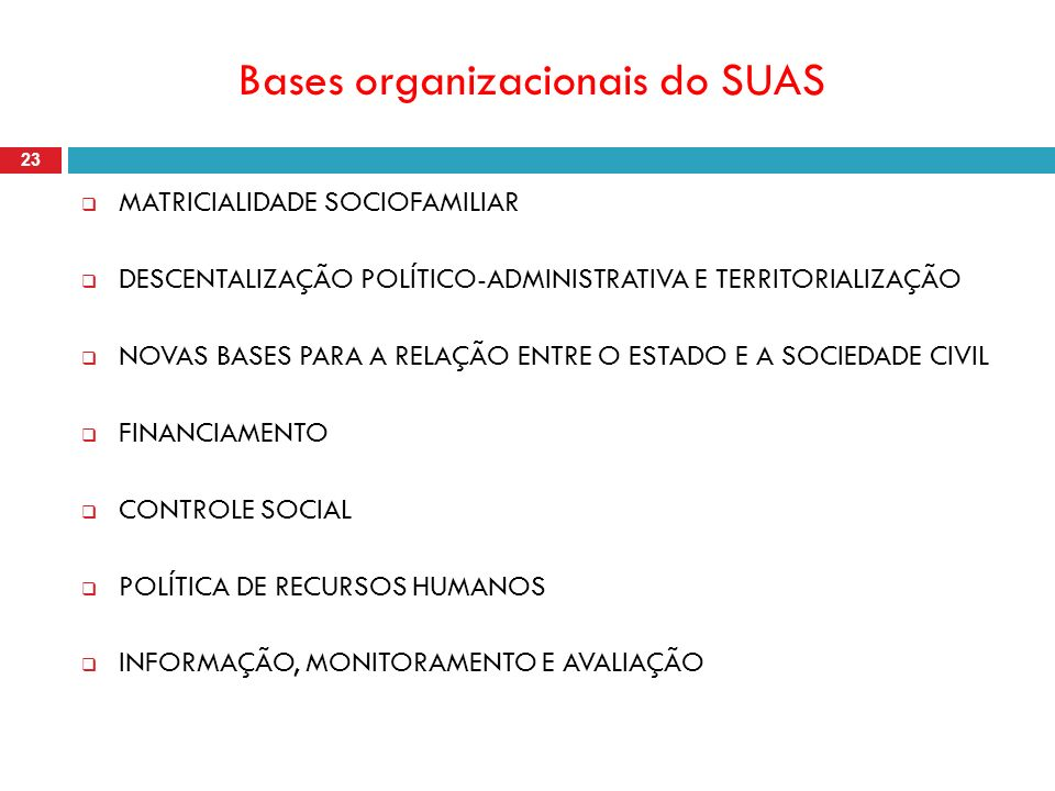 Bases organizacionais do SUAS