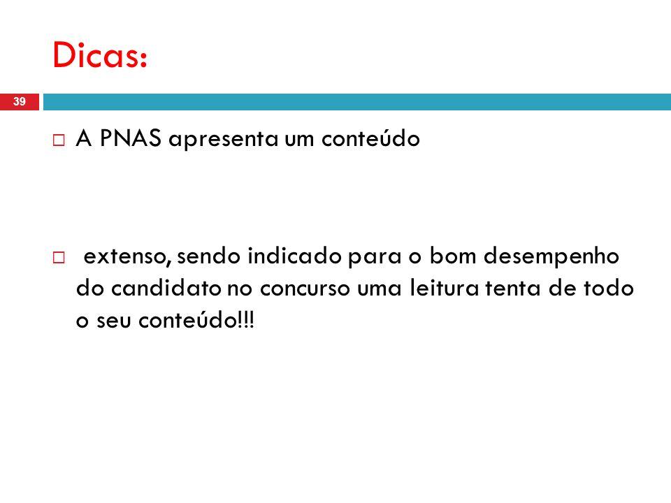 Dicas: A PNAS apresenta um conteúdo