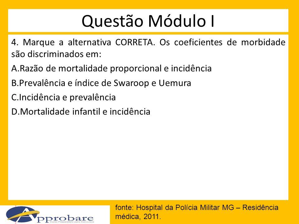 Questão Módulo I 4. Marque a alternativa CORRETA. Os coeficientes de morbidade são discriminados em: