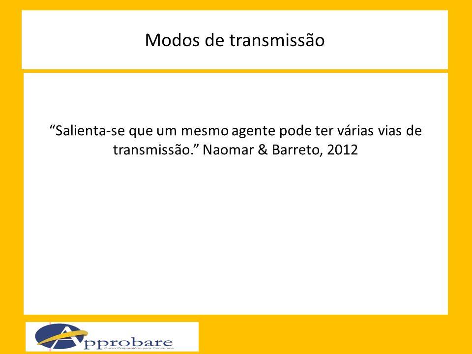 Modos de transmissão Salienta-se que um mesmo agente pode ter várias vias de transmissão. Naomar & Barreto, 2012.