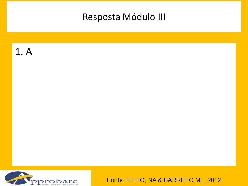 Resposta Módulo III 1. A Fonte: FILHO, NA & BARRETO ML, 2012