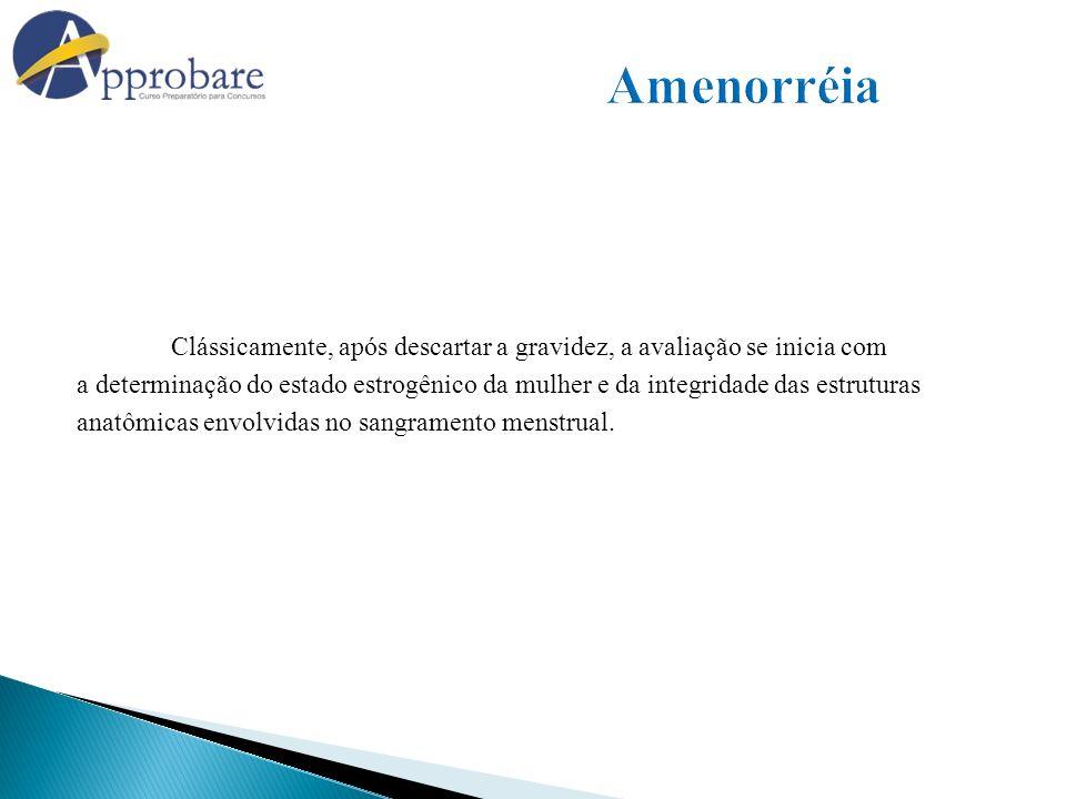Amenorréia Clássicamente, após descartar a gravidez, a avaliação se inicia com.