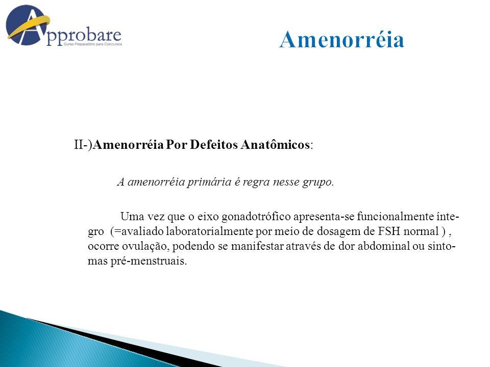 Amenorréia II-)Amenorréia Por Defeitos Anatômicos: